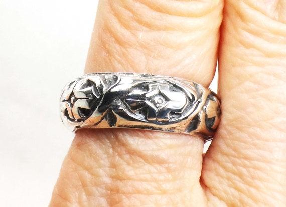 Vintage Sterling Silver Floral Ring Wide Sterling… - image 5