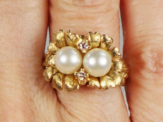 Vintage 14k Pearl Ring Yellow Gold Pearl Ring Pear