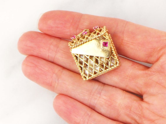 Vintage 14k Gold Mail Box Charm with Pearls 14k Ye