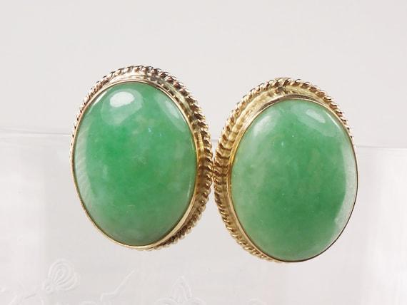 Vintage 14k Gold Green Chrysoprase Stud Earrings G