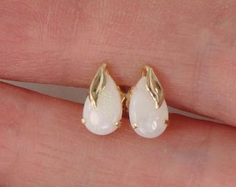 Vintage 14k Gold Opal Stud Earrings, Post Back Small Opal Earrings, October Birthstone Earrings. Natural Opal Earrings