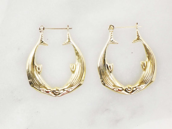 Vintage 14k Gold Dolphin Hoop Earrings Yellow Gol… - image 2