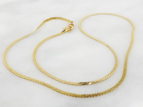 "Vintage Gold Chain 14k Gold Herringbone Chain 18"""