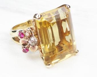 Vintage Gold Citrine Ring Yellow Gold Large Citrine Ring 14k Ruby Diamond Golden Stone 1940's Retro Ring Floral November Birthstone Ring