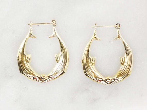 Vintage 14k Gold Dolphin Hoop Earrings Yellow Gol… - image 3