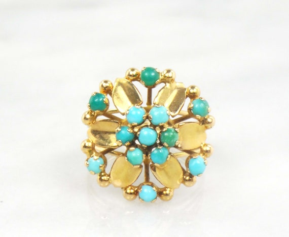 Vintage 18k Turquoise Ring Yellow Gold Turquoise R