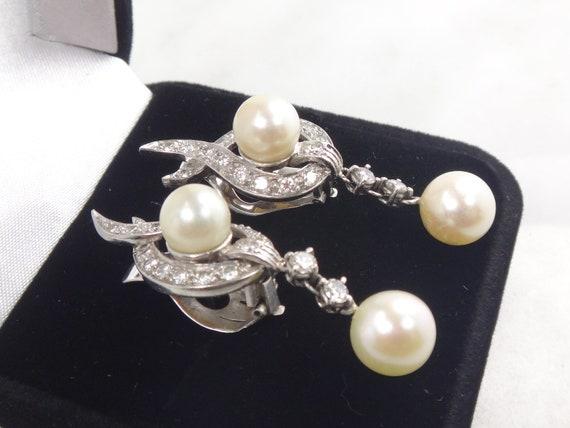 Vintage Pearl Dangle Earrings Japanese Cultured P… - image 4