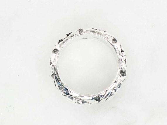 Vintage Sterling Silver Floral Ring Wide Sterling… - image 4