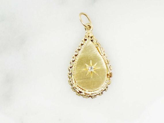 Vintage 14k Locket Necklace Gold Teardrop Starburs