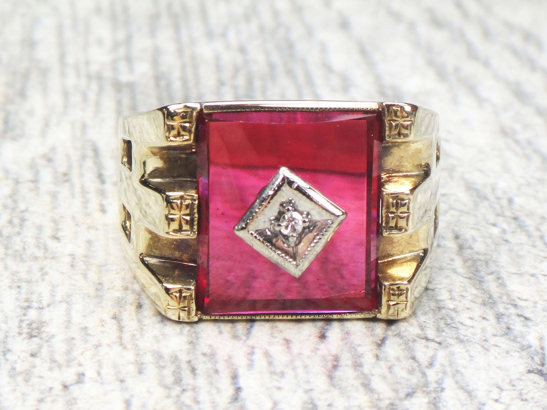 Vintage Mens Ring 10k Gold Mens Ring Diamond Ring Ruby Ring   Etsy