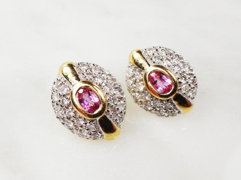 003807b9c Vintage Pink Sapphire Earrings 14k Gold Pave Diamond Stud | Etsy
