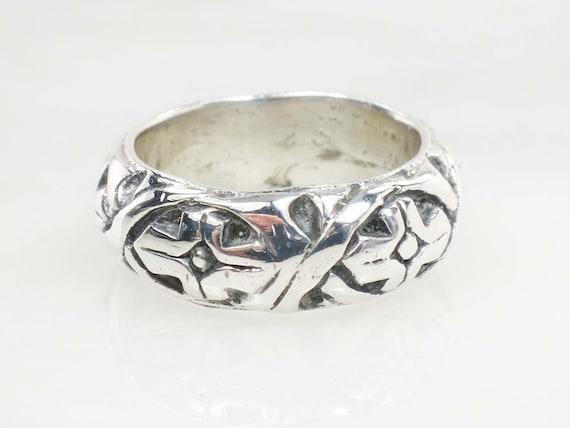 Vintage Sterling Silver Floral Ring Wide Sterling… - image 3