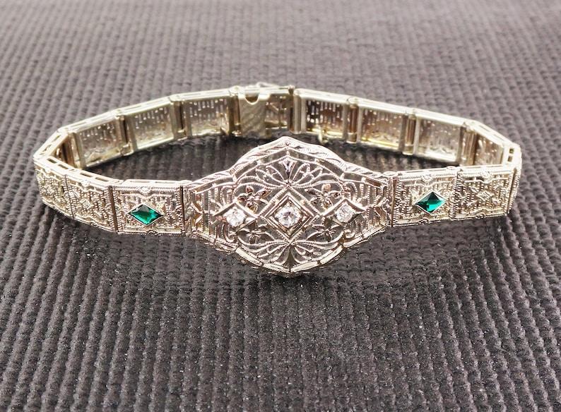 37416f772b8ac Vintage Diamond Filigree Bracelet Art Deco 14k White Gold Bracelet Antique  Diamond and Emerald Green Glass Bracelet Circa 1930's Floral