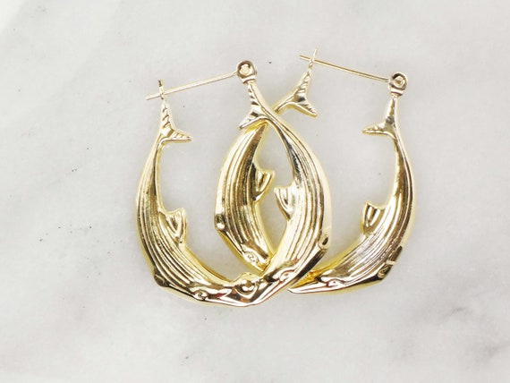 Vintage 14k Gold Dolphin Hoop Earrings Yellow Gol… - image 4