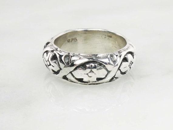 Vintage Sterling Silver Floral Ring Wide Sterling