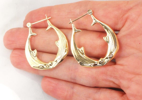 Vintage 14k Gold Dolphin Hoop Earrings Yellow Gol… - image 1