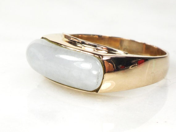 Vintage 14k Jade Ring 14k Gold Jade Saddle Ring Vi