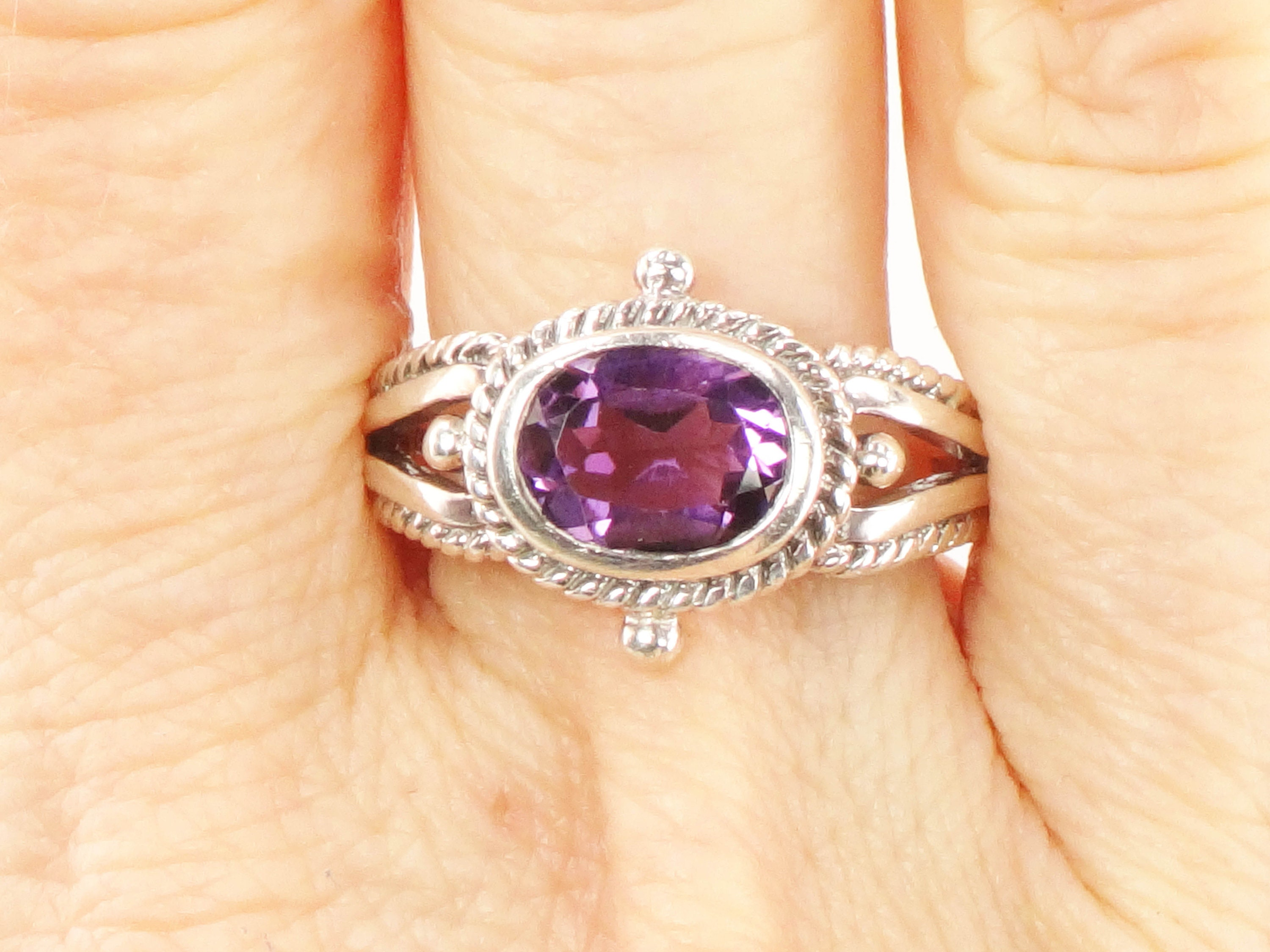 Faceted Gemstone Silver Ring with Balls February  Birthstone Jewellery Amethyst Silver Ring