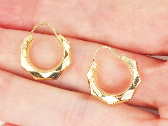 Vintage 14k Gold Hoop Earrings Yellow Gold Small H