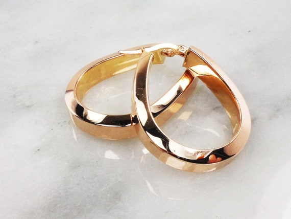 Vintage 14k Gold Hoop Earrings 14k Rose Gold Polis