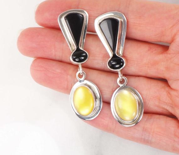 Vintage Large Sterling Dangle Earrings Yellow Moth