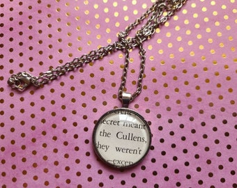The Cullens pendant necklace made with Twilight book pages