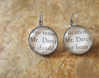 Mr Darcy book page earrings