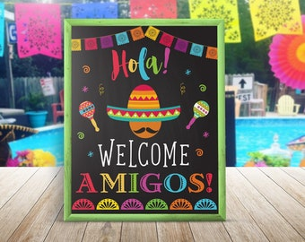 Fiesta Welcome Party Sign, Fiesta Party Decorations, Mexican Party Sign, Taco Bout A Party, Welcome Amigos