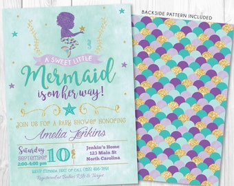 Mermaid Baby Shower Invitation, Little Mermaid Invite, Under The Sea Baby  Shower Invitations, Nautical