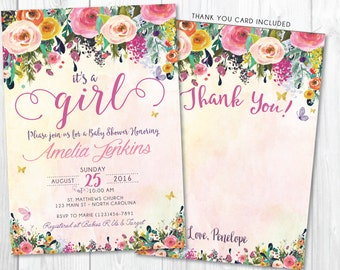 It's a Girl Whimsical Baby Shower Invitation • Floral Butterfly Baby Shower Invite • Spring Summer Watercolor Flower Printable • BS-G-02