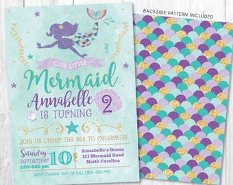 Mermaid Invitation • Mermaid Birthday Invite • Under The Sea Party • Teal Purple Gold • Summer Pool Beach Party Invitation Printable