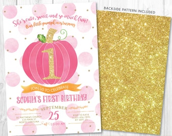 Pumpkin Birthday Invitation • 1st Fall Autumn Halloween Girl Pumpkin First Birthday Invite Printable