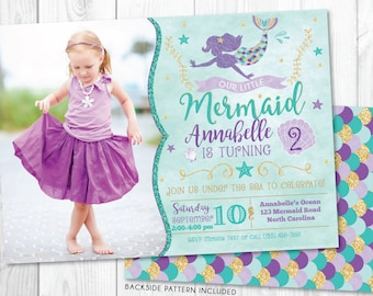 Mermaid Birthday Invitation • Mermaid Invite & Photo • Under The Sea Party • Teal Purple Gold • Summer Pool Beach Party Invitation Printable