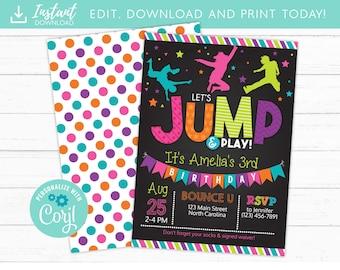 Jump Birthday Invitation, Trampoline Party Invite, Bounce House Birthday Invitations, Instant Download, Edit Yourself DIY Templett