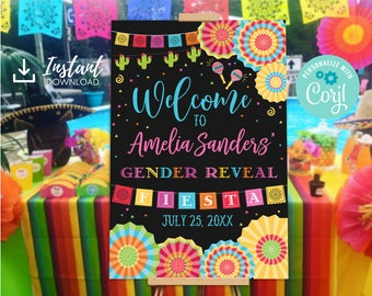 Fiesta Gender Reveal Welcome Sign Baby Shower Edit Yourself Editable Poster Digital File