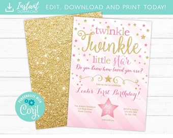 Twinkle Little Star Birthday Invitation Pink And Gold First 1st