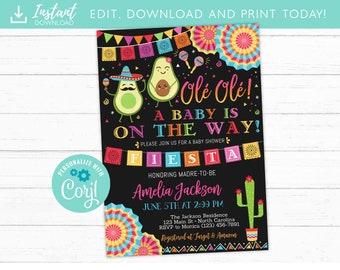 Fiesta Baby Shower Invitation,  Fiesta Baby Shower Party, Avocado Mexican Fiesta Baby Shower Invite, Printable, DIY