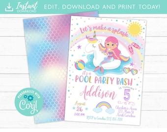 Unicorn Mermaid Pool Party Invitation Birthday Invite