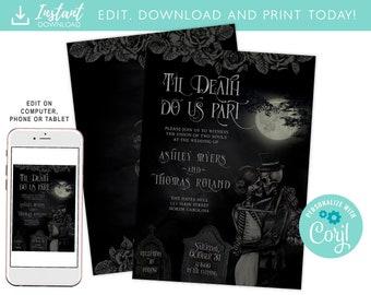 Til Death Do Us Part, Gothic Wedding/Halloween Invitation Instant Download Printable, Halloween Invite