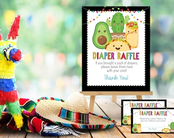 Fiesta Taco Bout A Baby Diaper Raffle Card Ticket Instant Download Template