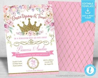 princess photo invitations birthday