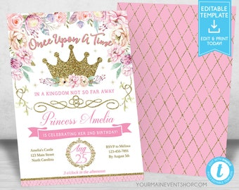 Princess Invitation Birthday Royal Floral Gold Crown Tea Party Invites Digital Printable