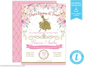 Princess Birthday Invitation Royal Floral Gold Crown Tea Party Invites Digital Printable