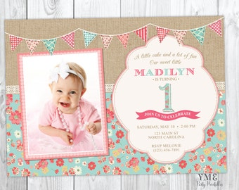 Items similar to first birthday invitations baby girl invitation first birthday invitation shabby chic burlap and lace invite with photo 1st birthday invitation tea party filmwisefo