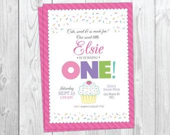 Cupcake invitation etsy cupcake birthday invitation sweet sprinkles birthday invite first birthday invitation 1st birthday instant download filmwisefo