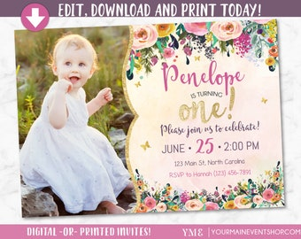 Whimsical invitation etsy whimsical butterfly first birthday invitation watercolor garden floral 1st birthday invite glitter girl birthday printable bs g 02 filmwisefo