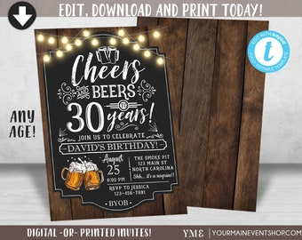 Cheers And Beers Birthday Invitation To 30 Years 40 50 Adult Invite Printable