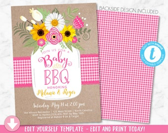 Baby shower invite etsy pink baby bbq invitation baby shower invite baby q barbeque summer invition printable mason jar floral filmwisefo
