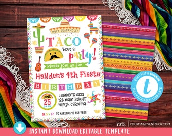 Fiesta Invitation Birthday Party Mexican Taco Bout A Twosday