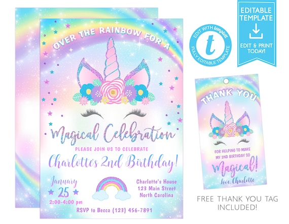 Unicorn Invitation Unicorn Birthday Invitation Template Unicorn